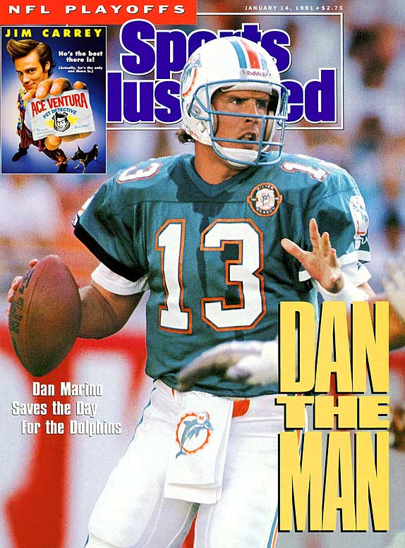Even on the big screen, Dan Marino did not win a Super Bowl. In the movie,  Ace Ventura: Pet Detective , Marino is kidnapped by a disgruntled former-placekicker who blames the quarterback's hold for the field goal he missed in the 1984 championship game. Jim Carrey saved the day, but Marino still didn't get a ring.