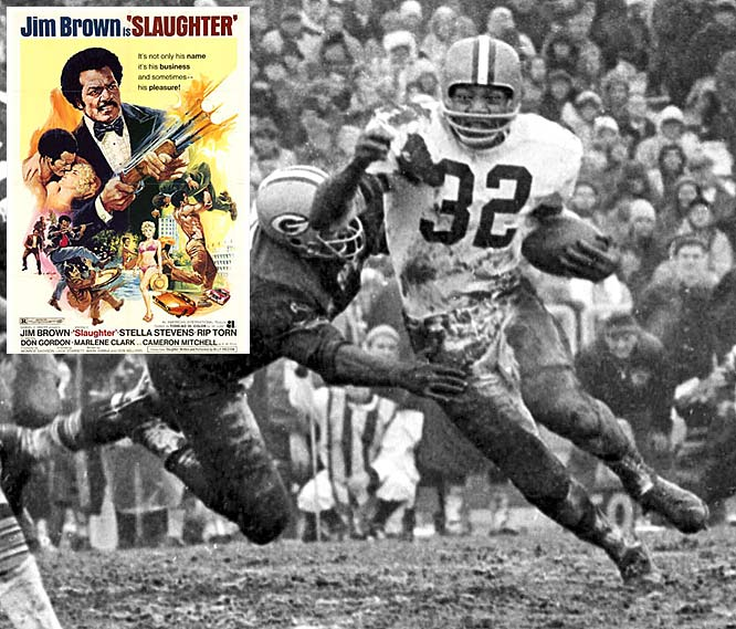 He announced his retirement after Browns' owner, Art Modell, insisted that he report to training camp instead of finishing work on the film,  The Dirty Dozen.  The Hall of Famer played memorable roles in  Slaughter, I'm Gonna Git You Sucka  and  Any Given Sunday.  He has shared the screen with Raquel Welch, Burt Reynolds and Charles Bronson.