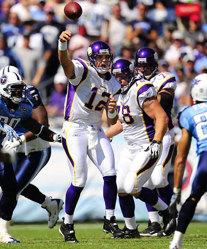 Unhappy with the results from third-year quarterback Tarvaris Jackson, the Vikings turned to the experienced arm of Gus Frerotte after Week 2. Frerotte has led the previously winless Vikes to a 3-2 record since taking over.