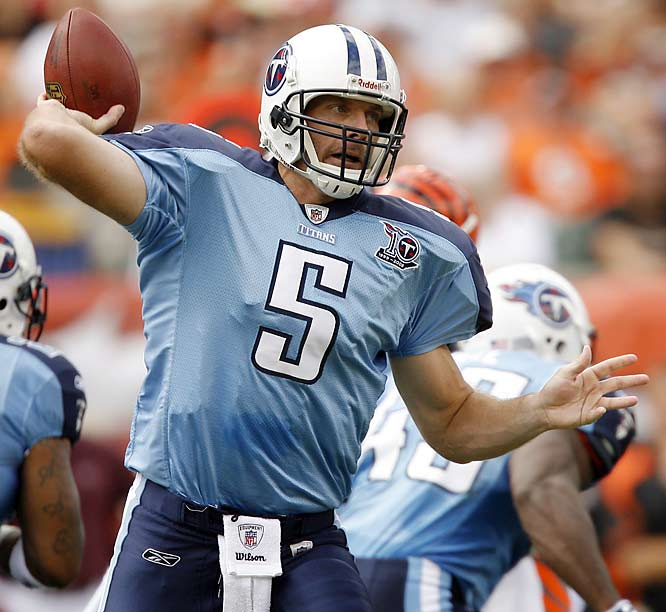 Collins has undergone a career resurgence after two years as a backup in Tennessee. The 14-year veteran has made the most out of the chance to fill in for Vince Young, leading the undefeated Titans to seven wins, though he has thrown for only 1,056 yards and three touchdowns.