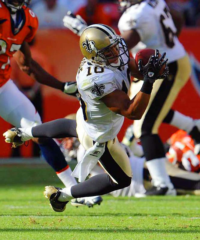 Lance Moore hurdled into the Saints starting lineup after a Week 3 groin injury to David Patten. Moore has benefited from being on the receiving end of Drew Brees's passes, posting games of 101, 97 and 90 yards, while notching three touchdowns.