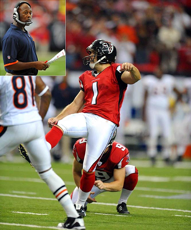 An ill-advised squib kick by the Bears (and an alleged late-starting clock) helped put the Falcons in position for a game-winning field goal by Jason Elam.