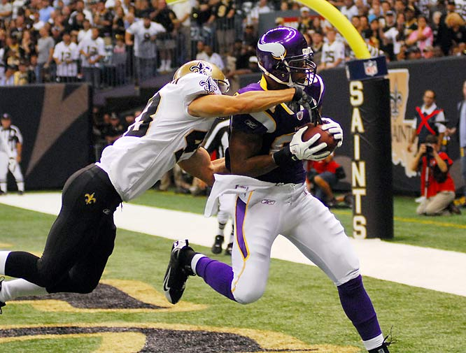 As Adrian Peterson's backup, Chester Taylor doesn't always see a lot of playing time. But in Week 5 he made the most of his minutes, lobbing a four-yard touchdown pass to Visanthe Shiancoe (pictured) on a halfback option play during Minnesota's 30-27 win over the Saints. (Send comments or suggested additions to siwriters@simail.com)