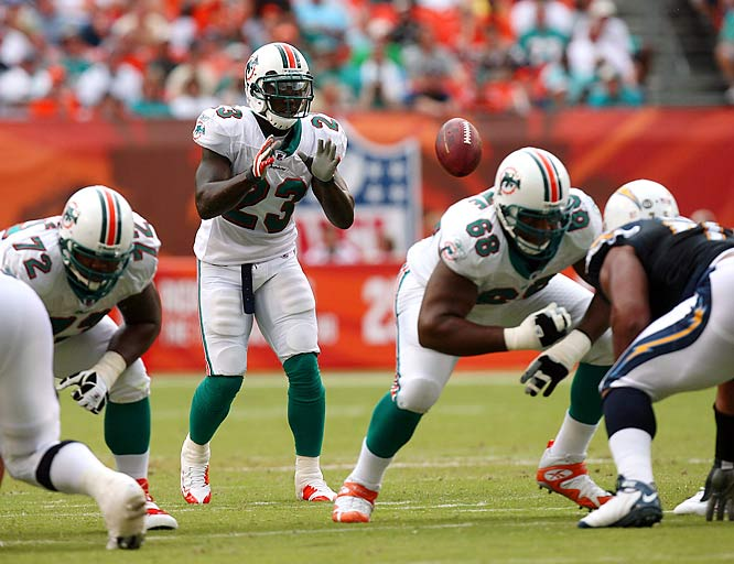 In observance of Halloween, here's a look at some of the trickiest trick plays of the 2008 season, beginning with the most popular, the Miami Dolphins high octane Wildcat formation. The Dolphins' first experiment with the Wildcat resulted in six plays for 118 yards and four touchdowns against the New England Patriots on Sept. 14. Three of those scores came on direct snaps to running back Ronnie Brown (23), who made it into the end zone each time he ran the ball from the Wildcat.