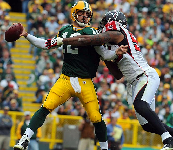 Though Rodgers turned in a gritty performance by playing with a sprained shoulder, the Packers were upstaged by the Falcons and their rookie quarterback Matt Ryan.