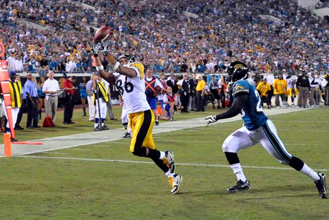 Ben Roethlisberger's eight-yard fade pass to Ward in the corner of the end zone put the Steelers ahead of the Jaguars 26-21 with 1:53 remaining.