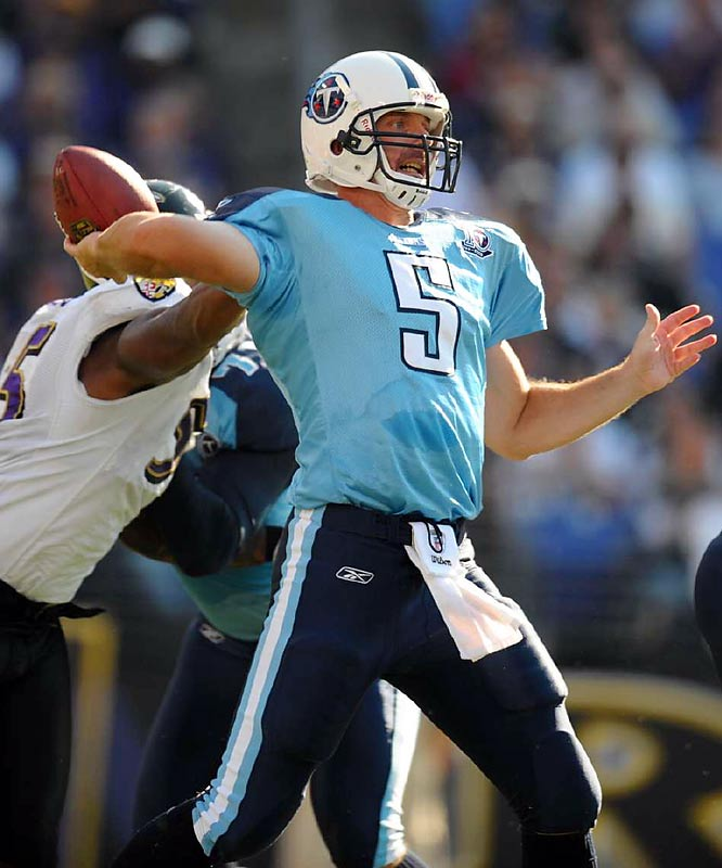 Needing an 80-yard touchdown drive to keep the Titans unbeaten, Collins threw an 11-yard touchdown pass to Alge Crumpler with 1:56 left, giving Tennessee a 13-10 victory over the Ravens.