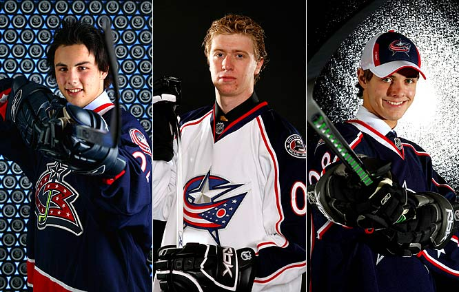 Brassard (left), the sixth overall pick in 2006, is penciled in as the No. 2 center alongside veteran Fredrik Modin, who'll offer a ready target for his slick passing skills. Voracek (center), the seventh overall pick in 2007, almost made the squad last season after a stellar camp. The playmaking winger returned bigger, stronger and ready to chip in. Voracek could start in a checking role, but his natural ability should earn him a promotion to a scoring line. Filatov (right), sixth overall pick in 2008, is a darkhorse to stick for the season due to his defensive deficiencies, but his skill set drew comparisons to Pavel Bure.