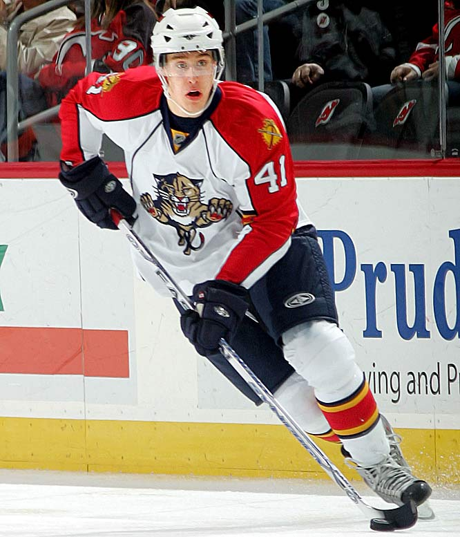 Stolen from the Red Wings in the 2007 Todd Bertuzzi trade, the 6-2, 213-pound center impressed in a four-game midseason tryout necessitated by a series of injuries in Florida. He's got a tireless work ethic, a solid defensive game and a decent touch around the net that suggest a long future as a staple of the Panthers' top six.