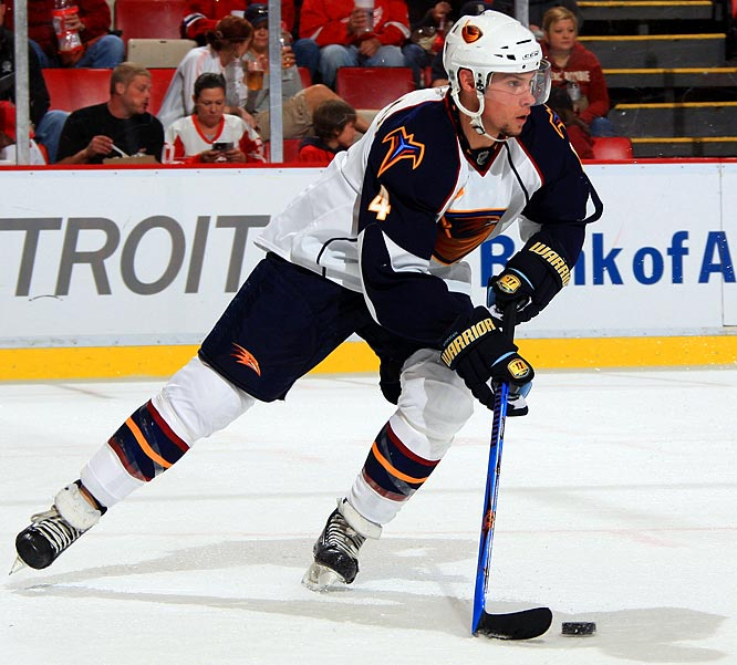 The Thrashers will go with seven defenseman. That plan virtually guarantees an opening night roster spot for Bogosian, the third overall pick last June. Like all young defenders, he'll experience his share of growing pains. His preseason debut against the Red Wings was highlighted by clever play with the puck as well as glaring giveaways and bad penalties, but it's all part of the process. Along with sophomore Tobias Enstrom, he's the future of the club defensively, and as long as he maintains his confidence, he'll play a significant role.
