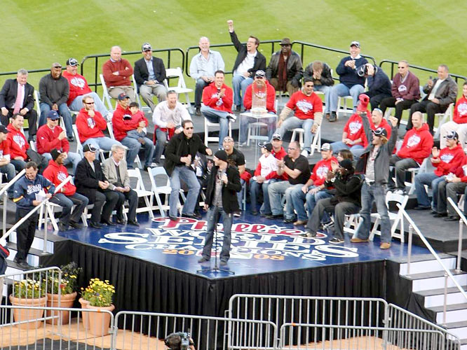 "Chase Utley got a rise of the fans and some teammates, too, when he inserted an F-bomb between ""World"" and ""Champions"" while addressing the fans at Citizens Bank Park."