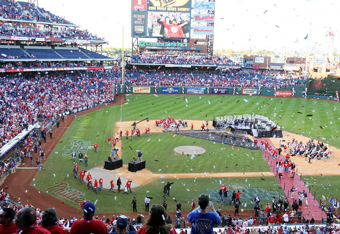 "The Phillies ended up at Citizens Bank Park, where a red ""2008"" banner was raised to celebrate their World Series championship."