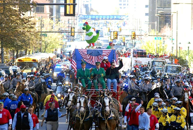 Pat Burrell led the parade procession, riding on a horse-drawn beer wagon.