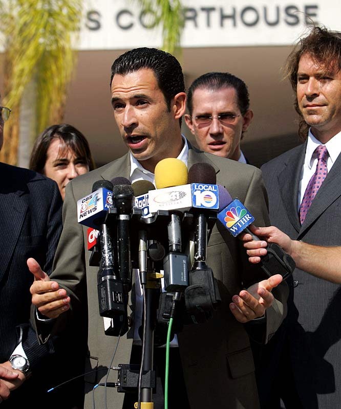 Speaking of Dancing With The Stars, Season 4 champion Helio Castroneves was in U.S. District Court in Miami wearing handcuffs and leg irons to answer a seven-count indictment for tax evasion and conspiracy to defraud the U.S. government. Someone should tell Castroneves that he's taking this celebrity thing a little too far. He doesn't necessarily have to go to jail to make tabloid headlines, just hook up with Julianne Hough again.