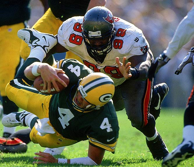 96.5 Career Sacks, high of 16.5 (2000) <br><br>Dr. Z's Breakdown: Our only tackle; everything keyed to beating the block with quickness.