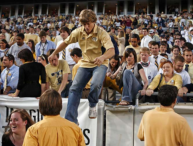 This Georgia Tech fan was one of the first to rush the field after the Jackets' big win over conference rival and top 15 team Florida State.
