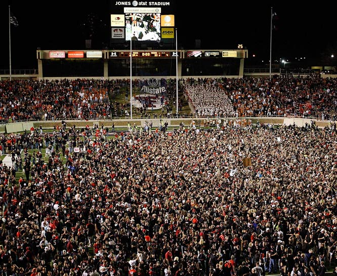 Texas Tech fans swarm the field after Michael Crabtree's game-winning reception.