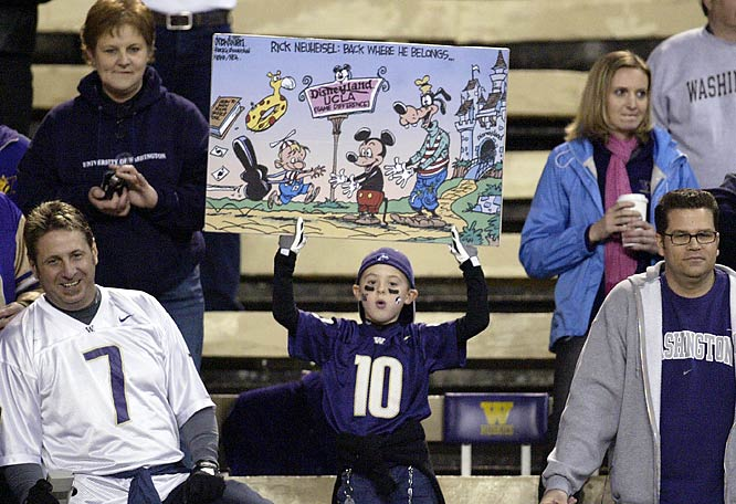 This young Huskie fan has a better sign each week.