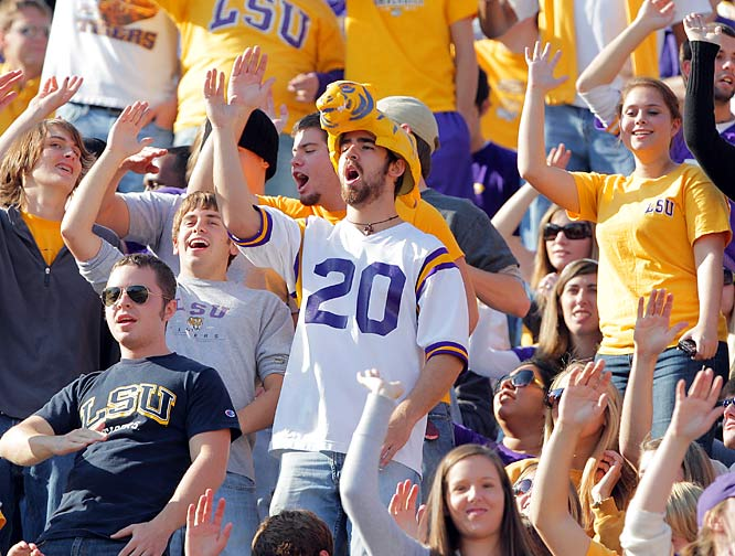 It's been a rough season for defending champion LSU, but this fan still dons his Tiger hat and cheers on his team.