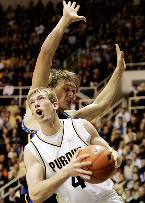 Preseason Big Ten player of the year Robbie Hummel put up his sixth career double-double as the Boilermakers stomped on Coppin State for their fourth win of the season.