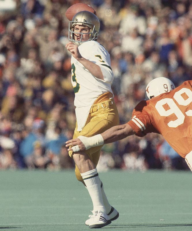 Buried at first as the seventh quarterback on the Irish depth chart, Montana eventually began to burnish his last-second heroics reputation with quick-strike drives, especially during the 1979 Cotton Bowl win over Houston.