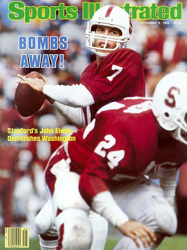 Elway led the nation with 24 touchdown passes in 1982, the same season that he finished second to Herschel Walker for the Heisman. He passed for 9,349 yards and 77 touchdowns while with the Cardinal.