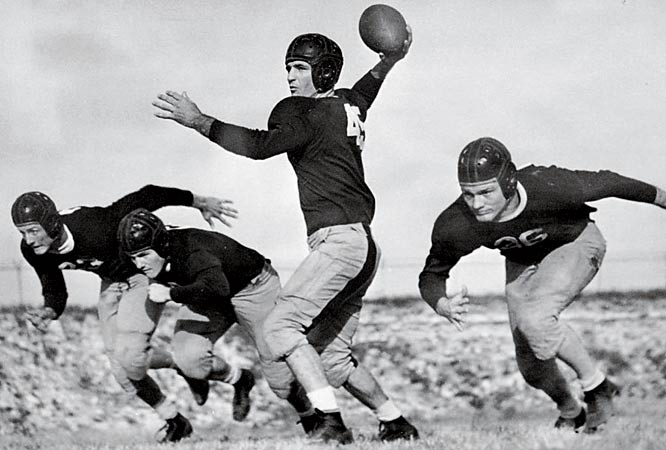Slingin' Sammy was a two-time All-America at TCU, where he threw 39 touchdown passes during three seasons with the Horned Frogs. He finished fourth in the voting for the 1936 Heisman and was inducted into the College Football Hall of Fame in 1951.