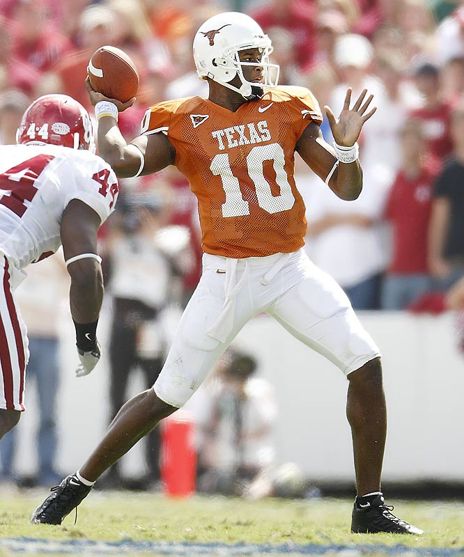 After finishing second to Reggie Bush in voting for the 2005 Heisman, Young took it out on USC in the national championship game, helping Texas to a 41-38 victory. He had three touchdowns in that game, including a nine-yard scamper with 19 seconds left to clinch the win.