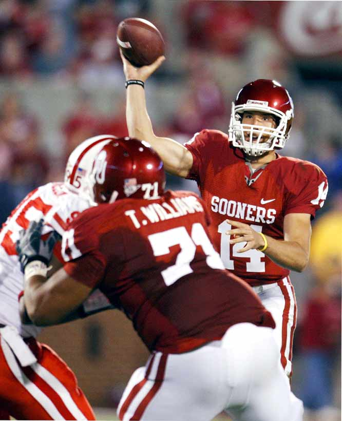 Sam Bradford threw for 305 yards and five touchdowns as the Sooners raced to a 28-0 lead in the first 4 1/2 minutes and never looked back. Oklahoma had never scored more than 55 points in 83 previous meetings with Nebraska dating back to 1912.
