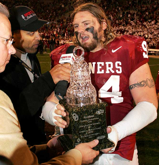 Oklahoma Sooners vs. Oklahoma St. Cowboys    Trophy introduced in 2000.