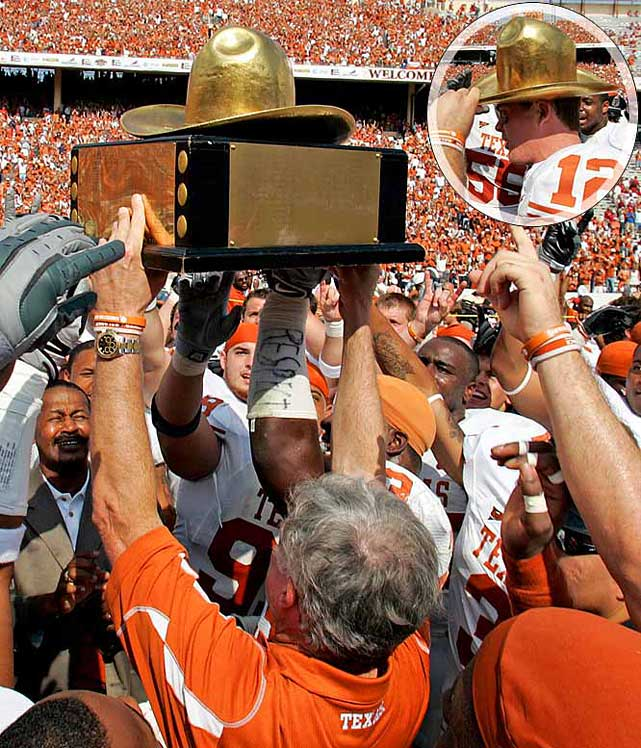 Texas Longhorns vs. Oklahoma Sooners   Trophy introduced in 1941.