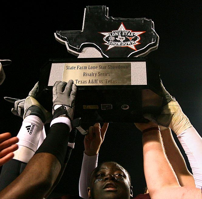 Texas Longhorns vs. Texas A&M Aggies   Trophy introduced in 2005.