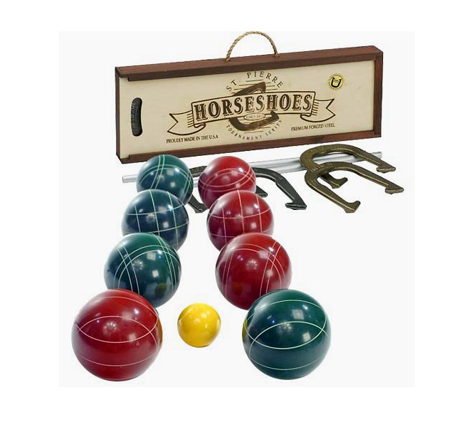 This boxed set from St. Pierre's Manufacturing in Worcester, Mass., contains everything you need to play the Italian bowling game of bocce.