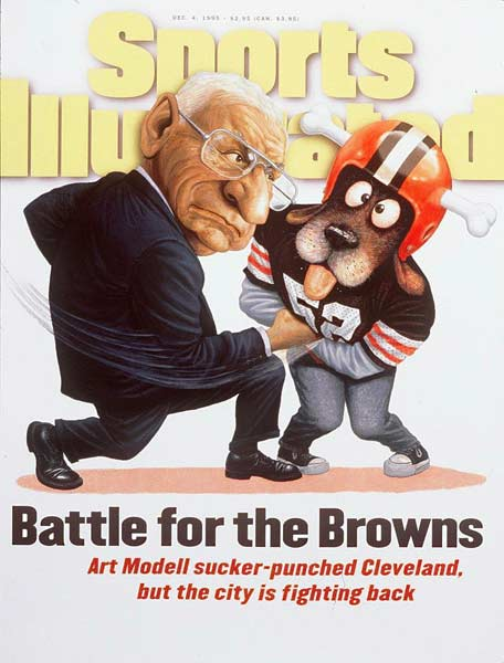 Art Modell, the owner of the Cleveland Browns, announces his plans to move the team to Baltimore.