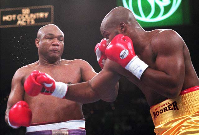 -George Foreman, 45, knocks out Michael Moorer to win the IBF and WBA Heavyweight championship.