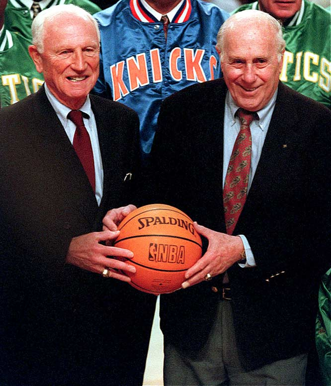 Red Holzman (left, with Red Auerbach) wins his 500th game at the helm of the New York Knicks following a 130-125 overtime win over Houston at Madison Square Garden. At the time, Holzman was only the second coach -- after Auerbach -- to reach that plateau with one team.