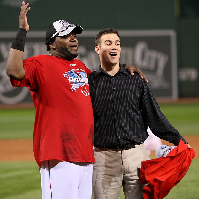 Twenty-eight-year-old Theo Epstein (pictured here with David Ortiz) becomes the youngest general manager in major league history when the Red Sox hire the Brookline native to be the team's 11th GM.