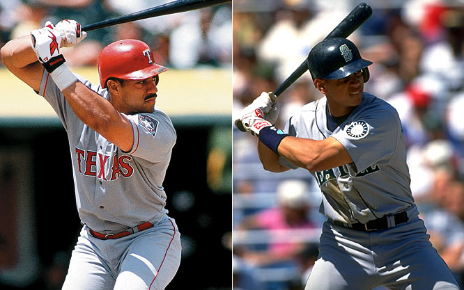 In his first full big league season, Alex Rodriguez hit .358, posted 36 home runs, drove in 123 runs and scored 141. The Rangers' Juan Gonzalez won the first of his two MVP awards by three votes, though, after hitting 47 round-trippers and driving in 144 for the AL West champions.