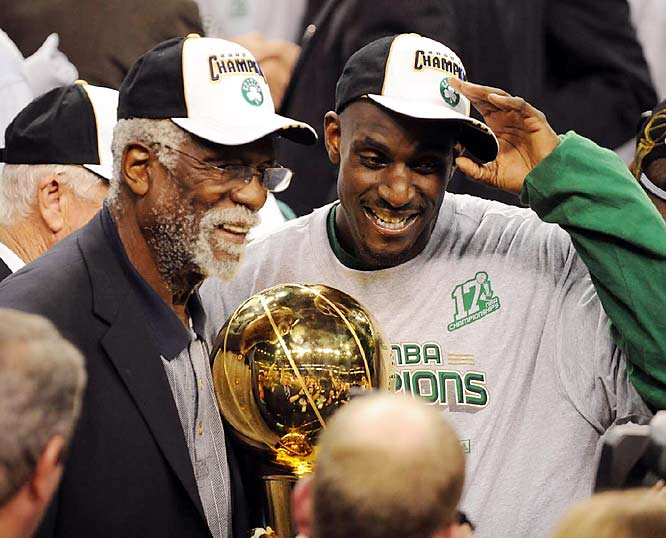 "Nominated by Phil Taylor<br><br> ""There are any number of reasons for the Celtics' reclaiming of the NBA throne that once seemed to be their permanent possession -- Danny Ainge's trades for Kevin Garnett and Ray Allen, the leadership and determination of Paul Pierce, and the selfless mentality cultivated by coach Doc Rivers among them -- but Russell's quiet influence should not be overlooked. He was Garnett's mentor, his muse, and without him who knows if KG would have been the galvanizing force the Celtics needed? `You may have to put your arms around a couple of guys and take them with you,' Russell said to Garnett before the Finals, referring to the championship journey. `You can't drag them -- you have to take them with you.'"""