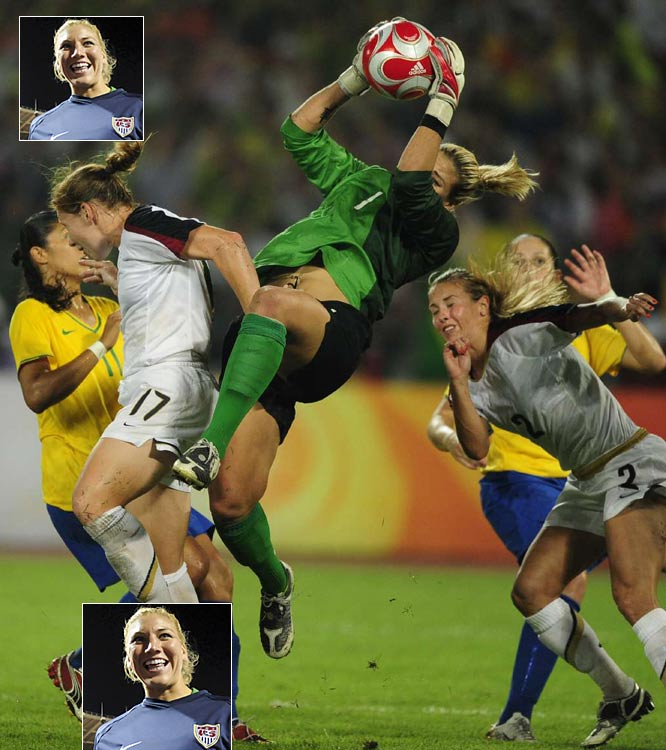 "Nominated by George Dohrmann<br><br>""The worst spell of Solo's life turned positive this past summer. Back between the pipes for the national team, she made save after save in a stirring 1-0 victory over Brazil that gave the Americans the Olympic gold medal. Her stop of a point-blank Marta shot in the 72nd minute was the play of the tournament, and it was the kind of save that previous U.S. coach Greg Ryan questioned she could make when he pulled her from the lineup at the World Cup."""