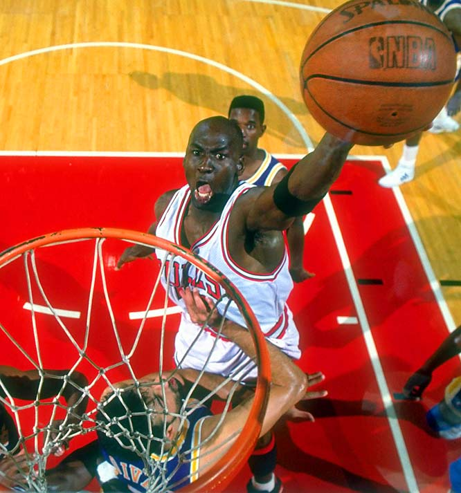 Jordan won his second MVP award by averaging 31.5 points on 53.9 percent shooting during the regular season, and his first Finals MVP award after scoring 31.2 points per game against the Lakers.