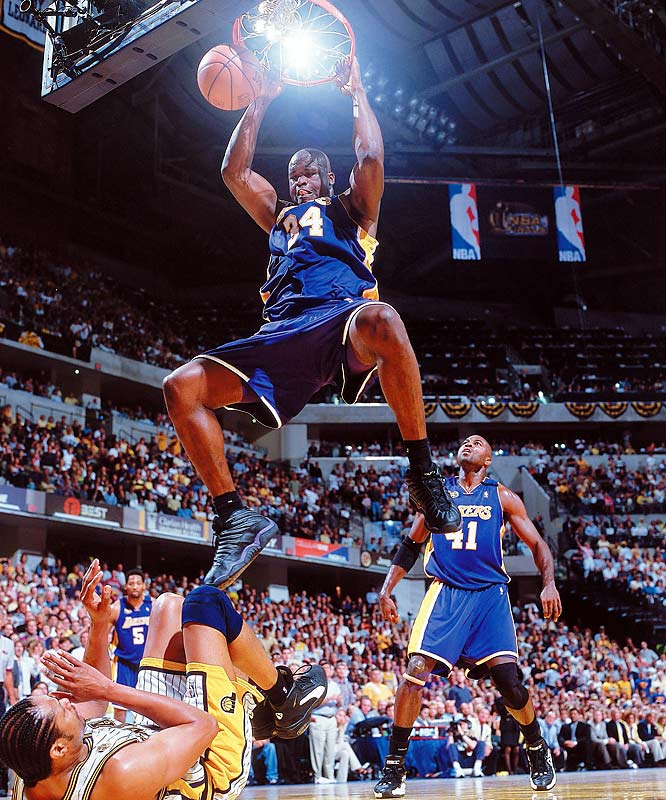 O'Neal earned league MVP, Finals MVP and All-Star MVP honors while scoring a career-high 29.7 points and pulling down 13.6 rebounds en route to the NBA title.