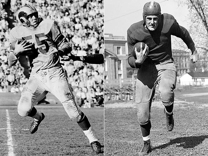 They were key elements of an offense that revolutionized the forward pass -- Fears a precise route runner, Hirsch the downfield threat. In 1950 Fears set an NFL season record with 84 catches, including 18 in one game against the Packers. The next year Crazy Legs Hirsch set the league record for receiving yards (1,495 yards) and led all players with 17 touchdowns. Both were voted into the Hall of Fame.