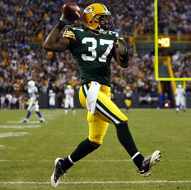 Aaron Rouse of the Packers only has one interception this season, but, like Cortland Finnegan, he returned it 99 yards for a score. The pick came in Week 7 against Peyton Manning and the Colts as Green Bay ran off to a 34-14 win.