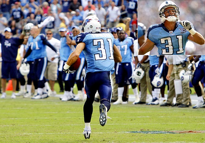 Cortland Finnegan of the Titans notched one of the NFL's two 99-yard interception returns this season when he took a Matt Shaub pass the distance in Week 3. In his third season out of Samford, Finnegan has become one of the key pieces in the 9-0 Titans tough defense.