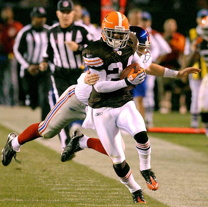 Second year cornerback Eric Wright has three of Cleveland's 10 interceptions this season. So far, he's the only Brown to take one back for six points. He did it in his club's Week 6 win over Eli Manning and the Giants.