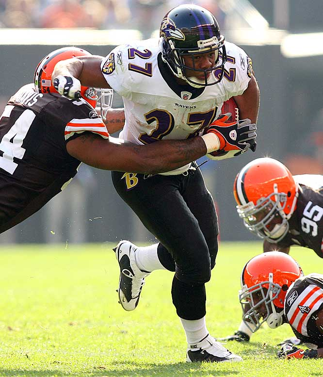 First-year running back Ray Rice ran for 154 yards to lead the Ravens to a 37-27 comeback victory over the Browns.  Rice had previously rushed for a career-high 64 yards twice during the season before Sunday.