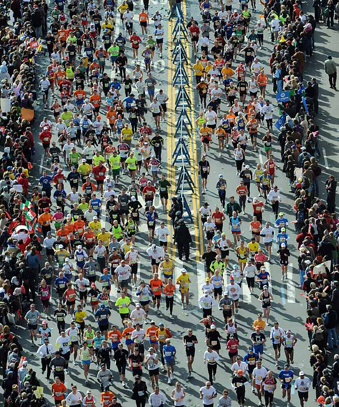The largest marathon in the world, the New York City Marathon races through each of the city's five boroughs.
