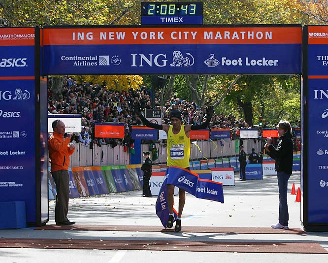 Marilson Gomes dos Santos of Brazil won his second New York City Marathon with a time of 2:08:43. Abderrahim Goumri was the runner-up for a second-straight year.