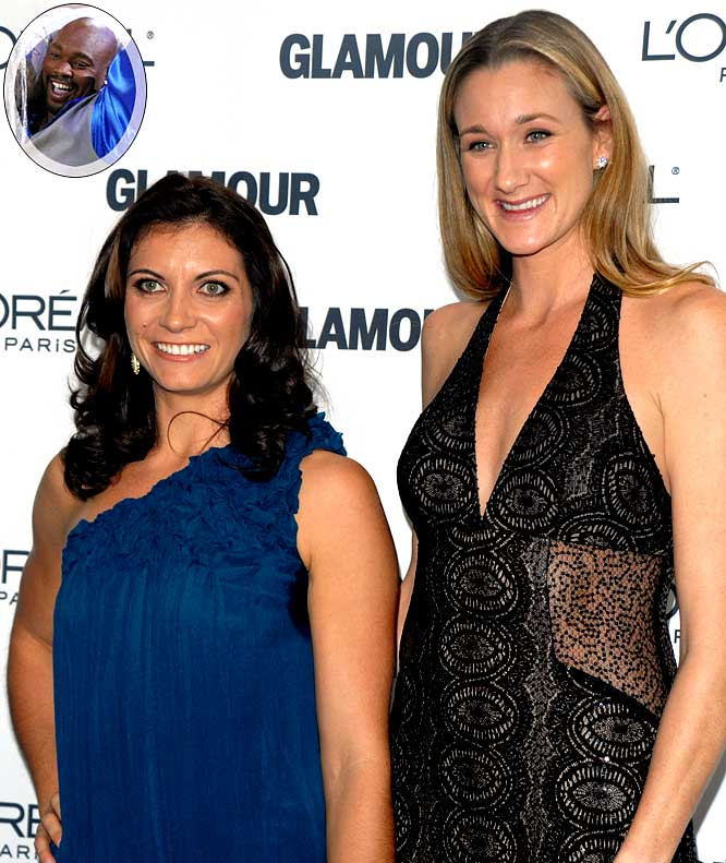 "Treanor (left) re-united with teammate Kerri Walsh in Hollywood this week to film a Super Bowl commercial after ""beginning to hobble or whatever you want to call it"" for the first time since she ruptured her left Achilles' tendon while on ""Dancing with the Stars."" ""I want to hit myself every time I watch the show because I still want to be out there,"" Traenor told me. ""Hopefully I can come back another season. I want to complete what I started."" With Traenor out, she's going with another athlete to win the competition this year. ""I like Warren [Sapp],"" she says. ""He's a great guy and a big teddy bear."" Yes, a big, angry, controversial teddy bear that you don't ever want to cross."